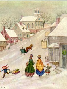 tasha tudor print-see those ladies frocks, I could so wear those everyday! What an enchanting little town! Would love to jump into the picture:-)