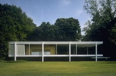 Among Johnson's main inspirations for the Glass House were the plans for the Farnsworth House, a weekend residence van der Rohe designed for a wealthy client in Plano, Ill. Though work did not begin on the Farnsworth House until six months after the Glass House was completed, van der Rohe had begun developing ideas for the house years earlier through drawings that Johnson saw and admired  Read more: Philip Johnson's Glass House - Photo Essays - TIME