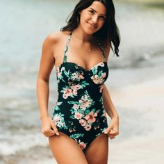 Faithful Hibkn 2018 Plus Size One Piece Swimsuit Halterneck Swimwear Large Sizes Mesh Ruched Monokini Trikini Solid Swimsuit Large Size Sports & Entertainment