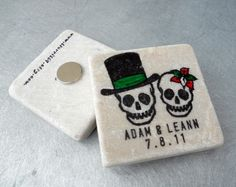 Day of the Dead Mexican Wedding Save the Date Tile Magnets, Skull Magnets, Wedding Favors, Set of 50