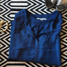 Ann Taylor LOFT blue top Used. Still wearable. Size small, sheer top. 100% polyester. LOFT Tops