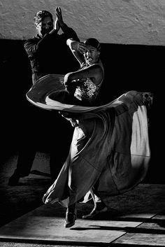 Black & white photo dance Mijas Flamenco Dancer at Sunset, Andalusia, Spain