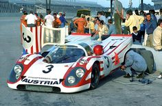 A great photo taken at Daytona in 1970 where the new Porsche 917K made its debut. There were just two of the J.W. Automotive 917s at Daytona, though a third 917 (photo), in white and orange instead of the blue and orange of the J.W.-Gulf cars, was entered by Porsche of Austria-the Piech wing of Porsche.