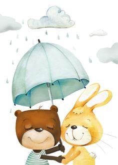 Kinderzimmerbild, tierische Freunde, illustriertes Plakat / wall decoration for nursery, best friends by pipaier via DaWanda.com