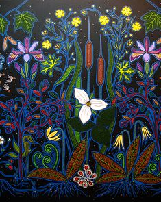 Christi Belcourt :: Based on Tradition, Inspired by Nature beadwork designs on canvas and acrylics