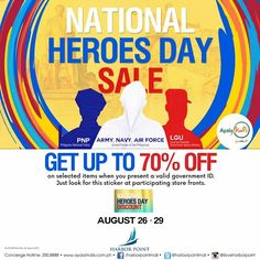 This National Heroes Day long weekend, Harbor Point celebrate and show appreciation for our modern day heroes!  Check out Harbor Point National Heroes Day SALE!  Enjoy discounts of up to 70% OFF on great selection of items on participating stores mall-wide on August 26 - 29, 2016!  For more promo deals, VISIT http://mypromo.com.ph! SUBSCRIPTION IS FREE! Please SHARE MyPromo Online Page to your friends to enjoy promo deals!