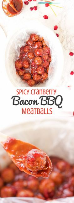 These spicy cranberry bacon bbq meatballs are the ultimate in sticky finger foods just in time for the holidays! A quick homemade cranberry sauce is melted and smothered into barbecue sauce and hot spices for the perfect sweet and spicy no-fuss pop-able party bites! #makeheartburnhistory #ad with Nexium24HR /walgreens/
