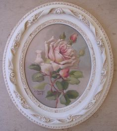 """Original """"Summer Blush"""" C.Repasy - Vintage style Rose picture with shabby white frame Shabby French Chic, Shabby Chic Pink, Shabby Chic Cottage, Vintage Shabby Chic, Shabby Chic Homes, Shabby Chic Style, Vintage Style, Rose Art, Home And Deco"""