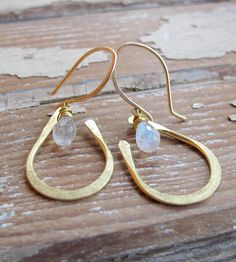 Moonstone Brass Drop Earrings | Jewelry Earrings | Tangleweeds | Scoutmob Shoppe | Product Detail