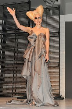 At Vevo launch on Dec 9th, 2009, Lady Gaga makes a fashion statement in this grey organza gown from Valentino Spring 2010 collection.