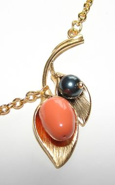 Necklace coral tahitian pearl stem gold by Purefections on Etsy, $24.00