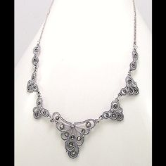 """Sterling Silver Marcasite Necklace 925  SS Necklace decorated with Marcasite. 18"""" Jewelry Necklaces"""