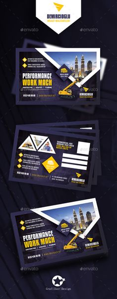Construction Postcard Design Templates - Cards & Invites Design Print Templates PSD, InDesign INDD. Download here: https://graphicriver.net/item/construction-postcard-templates/19359193?ref=yinkira