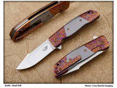 ESG Folder Custom Made Knife with Moire Timascus & Zirconium Scales