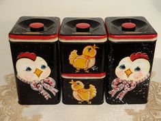 Chicken Canister Set, Lincoln Beauty Ware,, Chicken Decor, Rooster Decor,, Kitchen Decor,,,Vintage Canisters,,