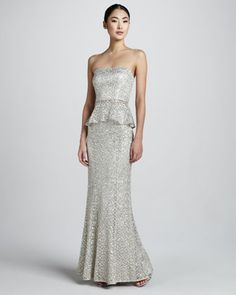 Kay Unger New York Sequined & Lace Overlay Strapless Bustier, Mermaid Skirt & Jacket - Neiman Marcus