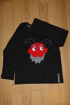 Camiseta personalizada a mano con telas y fieltro. Dimoni, Demonio, Demon