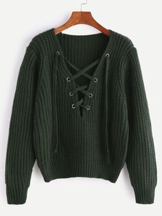 Army Green V Neck Lace Up Chunky Knit Sweater