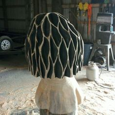 Chainsaw carved morel