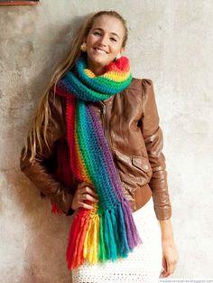Aprende como tejer a Crochet gorro con hojas miniaturas en alto relieve - How to Crochet - Crochet Washcloth Hand Knit Scarf, Crochet Cardigan, Crochet Scarves, Cowl Scarf, Crochet Shawl, Crochet Clothes, Knit Crochet, Rainbow Fashion, Pom Poms