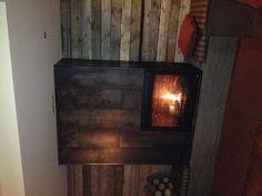 Metal fireplace detail.