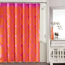 Studio 3B Jay Fret Shower Curtain - Pink/Orange - Bed Bath & Beyond Don't freak. I think purple and orange is a great combination. This might not be coral enough but it could be fun.