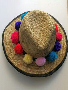 Straw hat with pom pom trim sun hat  pom pom by PrettyLittleAttire