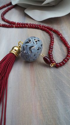 Burgundy tassel necklace.Long beaded tassel necklace. Bohemian necklace. Boho…