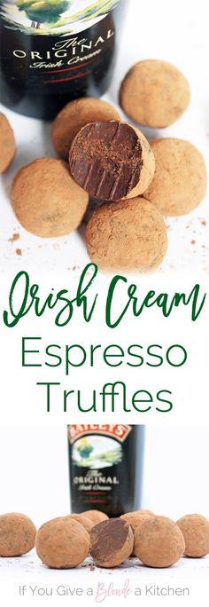 Irish Cream Espresso Truffles Recipe - Irish Cream Espresso Truffles made with chocolate and Baileys—perfect for St. Baileys Recipes, Irish Recipes, Sweet Recipes, Espresso Truffles Recipe, Truffle Recipe, Cake Pops, Irish Cream, Cream Cream, Candy Recipes