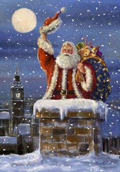 belles images anim e noel new - Page 21 Christmas Scenes, Vintage Christmas Cards, Santa Christmas, Christmas Pictures, Winter Christmas, Christmas Ecards, Father Christmas, Christmas Paintings On Canvas, Illustration Noel
