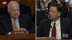 John McCain, James Comey | Live: Former FBI Director James Comey Testifies Before Congress (2017 broadcast) via Washington Post (YouTube channel)