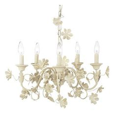 Jubilee Collection Leaf and Flower 5 Light Candle-Style Chandelier Finish: Ivory
