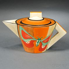 Clarice Cliff Butterfly Pattern Teapot and Cover | Sale Number 2676B, Lot Number 789 | Skinner Auctioneers sold $1,080 2015