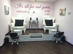 Pedicure station at the Wink Lash and Beauty Bar LOFT