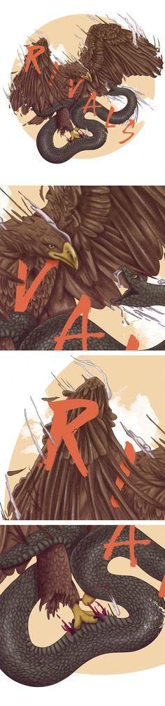 Ilustración, águila, serpiente