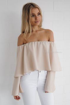 de911f6eba9aa Dia Off Shoulder Crop Top in Beige Off Shoulder Outfits