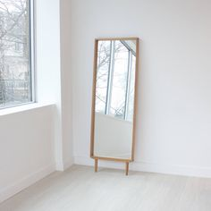 Modern Oak Floor Mirror Leaning Mirror ($822) ❤ liked on Polyvore featuring home, home decor, mirrors, handmade home decor, wooden home decor, wood mirror, modern home decor and wooden mirror