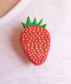 Strawberry brooch handmade from fimo. Brooches Handmade, Strawberry, My Etsy Shop, Fimo, Strawberries