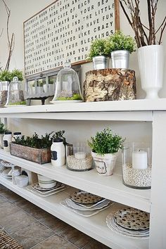 I love the light bright qualities to this display and how the natural elements are incorporated.