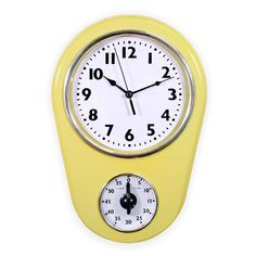 Slash Retro Vintage Old Fashioned Inch Kitchen Wall Clock with 60 Minutes Timer (Milky Yellow) Wall Desk, Desk Clock, Vintage Decor, Retro Vintage, Kitchen Wall Clocks, Timer Clock, Kitchen Timers, Steel Wall, Modern Wall