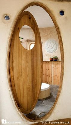 The door to Rachel's straw bale bathroom in Wales