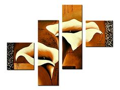 Noah ArtContemporary Flower Canvas Art 100 Hand Painted Large 4 Panel Framed GalleryWrapped Modern Flower Paintings On Canvas Wall Art Ready to Hang for Home Wall Decorations >>> To view further for this item, visit the image link.