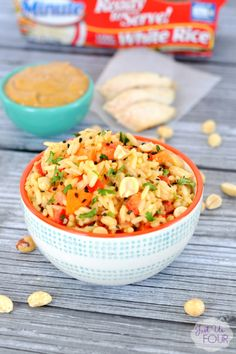 A Thai Peanut Rice Bowl is the perfect dinner option when you want something quick after a long day.   15 Minute Meals   AD LunchWithMinuteSweeps