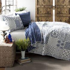 August Grove Spiritwood Lake Comforter Set | Birch Lane King Quilt Sets, King Size Quilt, Queen Quilt, Ruffle Bedding, Quilt Bedding, Chic Bedding, Teen Bedding, Rustic Bedding, Blue Bedding