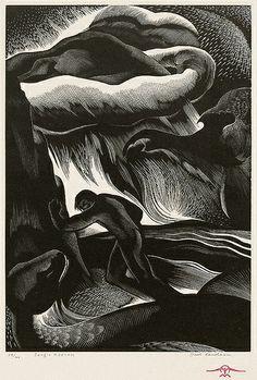 """Jungle Madness"" - Paul Landacre (American, 1893 - 1963) Wood Engraving, 1935"
