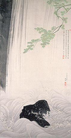 "SUNTORY MUSEUM OF ART ""Green Maple and Waterfall"" By Maruyama Okyo 1787."