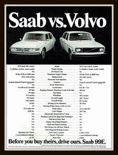 1972 Saab 99E vintage print advertentie-Saab en Volvo vergeleken - Ephemera, decor, frame, nostalgie, verwijzing