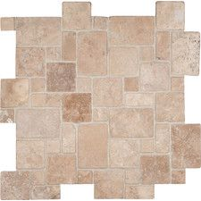 Durango Random Sized Travertine Mosaic Tile in Beige