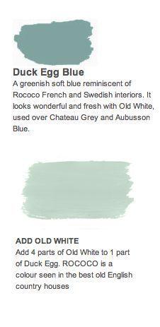 Best Paint Colors Annie Sloan Chalk Paint Combo: Duck Egg Blue and Old White. 4 parts Old White with Best Paint Colors, Bedroom Paint Colors, Paint Colours, Pallette, Swedish Interiors, Bedroom Furniture Makeover, Annie Sloan Paints, Annie Sloan Chalk Paint Colors, Blue Floor