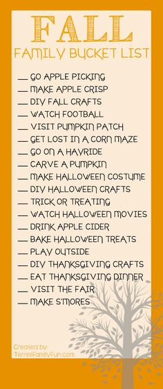 Fall Family Bucket List, Things to do with the family this fall